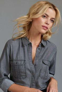 Grey Denim Blouse with Pockets