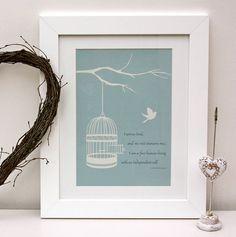 jane eyre 'i am no bird' quote birdcage print by wink design | notonthehighstreet.com