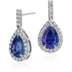 Blue Nile Pear Shape Tanzanite and Diamond Earrings ($9,500) ❤ liked on Polyvore featuring jewelry, earrings, 18k earrings, blue nile, 18 karat gold jewelry, tanzanite jewelry and blue nile jewelry