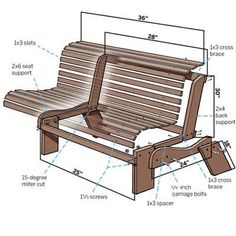 How to Build a Garden Bench - This Old House Pallet Patio Furniture, Diy Garden Furniture, Furniture Plans, Wood Furniture, Furniture Design, Pallet Benches, Pallet Wood, Furniture Covers, Diy Pallet