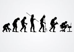 Evolution of human work showing silhouettes from primate, passing first Homo species with rudimentary tools, followed by men with hunting, agricultural and construction tools, ending with man sitting with computer. It's a funny design to use digital or printed media. High quality JPG included. Under Commons 4.0. Attribution License.