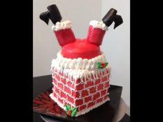 Santa and Chimney Cake-  Buttercream- Cake Decorating