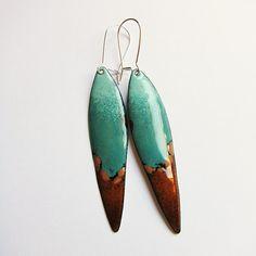 Brown and turquoise dangle earrings, enamel drop earrings, southwestern bohemian jewelry mint green