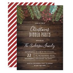 Rustic Wood Holly & Pine Holiday Party Invitation - rustic country gifts style ideas diy