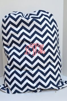 Large  Navy Chevron  Laundry Bag Tote College Dorm Duffle Bag with Shoulder Strap Monogrammed