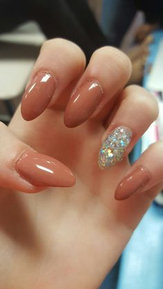 Long, Nude, Sparkly, Almond, Acrylic Nails