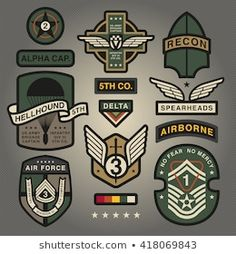 Set Of Military and Army Patches and Badges 4 - buy this stock vector on Shutterstock & find other images. Badge Design, Logo Design, Us Army Infantry, Air Image, Badges, Army Patches, Military Looks, Badge Logo, Patch Design