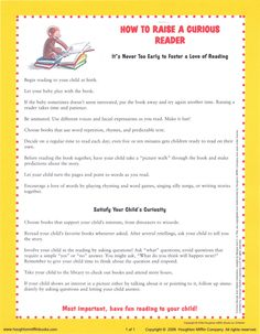 How to Raise a Curious Reader From www.curious george.com. Teacher's Classroom Resources Printables. Copyrighted 2006 by Houghton Mifflin