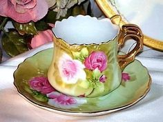 Lefton China Teacup Green Heritage Pink Roses Gold Tea Cup And Saucer #3067