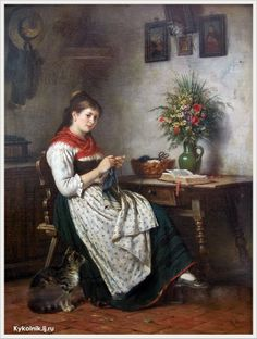Rudolf Epp (German, 1834-1910) «Knitting Girl»