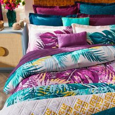 Moderntropicalleaf printsgiveour perfectly coordinatedBali bedding sets a beautifully sophisticated feel.We've specifically designed bedding that's completely reversible, from the duvetcoverand comforter right down to the pillowcases, allowing you to createup to fourlooks with the pieces from just one bedding set. Modern Tropical, Tropical Leaves, Leaf Prints, Bed Design, Pillowcases, Bedding Sets, Bali, Comforters, Duvet Covers