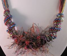 Freeform Fiber Necklace with Cellini Spiral by OpulentAdornment