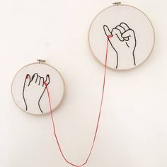 'The Red String of Fate' Embroidered Hands Tied Together by Destiny Simple Embroidery, Hand Embroidery Stitches, Embroidery Hoop Art, Cross Stitch Embroidery, Embroidery Designs, Red String Of Fate, 7 Arts, Stoff Design, Red String Tattoo