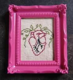 """""""Petit Amor"""" -  by artist Mavis Leahy - embroidery on vintage linen, 3.5""""x4"""" - SOLD"""