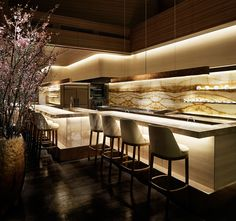 Interior of JG Tokyo, chef Jean-Georges Vongerichten's first restaurant in the city, designed by Curiosity. #Restaurant