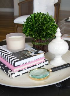 Side Table Decor With Candle and Books (via @thedecorfix)