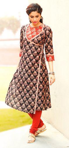 #red #black #kurta #print #wrap-around #striking #angrakha #style #women #fashion #Fabindia