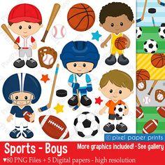 Sport Boys - Clip art and Digital Paper Set - Sports clipart