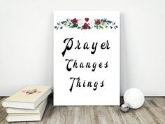 Prayer Print, Watercolor Flower Arrangement, Living Room Decor, Instant Download, Prayer Quote, Christian Wall Art, Religious Wall Quote by InspirationsByJason on Etsy