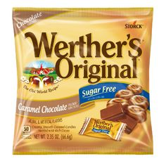 Werther's Original Werther S Original No Sugar Added Caramel Coffee Hard Candy Werther's Caramel, Caramel Bits, Caramel Apples, Caramel Color, Sugar Free Hard Candy, Sugar Free Sweets, Sour Candy, Soup Kitchen, Chocolate Caramels
