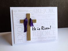 handmade Easter card from I'm in Haven ... wooden cross draped in purple ... REJOICE in pale lavendar all over background ... religious theme ...