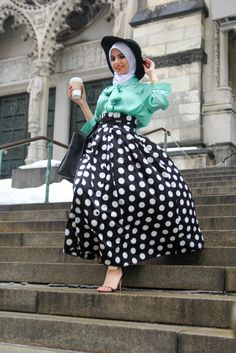 ♥ Muslimah fashion & hijab style minus the hat ...or wear it properly so it looks better