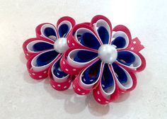Fourth of July Hair Bows Flower Clip Set of 2 by SpoiledLittleDiva, $6.00