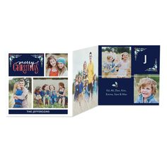 Add your favorite family photos to 'Mistletoe Corners' Tri-Fold Holiday Cards for a festive Christmas greeting. Design by Petite Alma for Tiny Prints in Baltic Blue