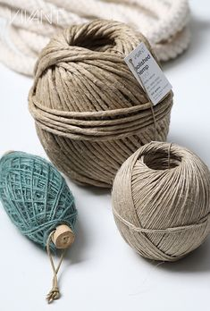 Polished hemp cord in 3 sizes and fine sea blue jute cord on bamboo stick. Articles selected from holiday-dream theme How To Make Rope, Cords, Twine, Jute, Hemp, Bamboo, Articles, Packaging, Holiday