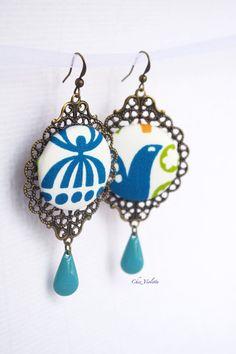 Bird Peacock Fabric Earrings Romantic Fiber by chezviolette