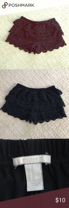 Lace shorts Black lace / crochet shorts. Elastic waist. Soft jersey material on the inside. Pilling on inside fabric but you cannot see it when wearing. Reasonable offers accepted! Forever 21 Shorts