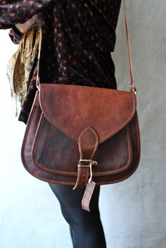 Leather Purse Bag Messenger Cross body Brown Tote travel handbag laptop satchel