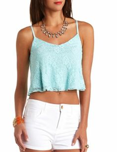 Lace Swing Crop Top: Charlotte Russe