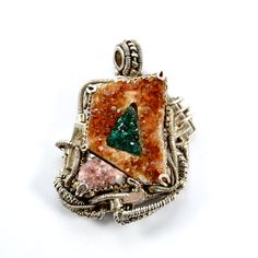 *Steampunk Jewels* Ag 925 *Single piece *  Citrine Druse (Brazil), marquetry central Dioptase (Congo), Druze Quartz Pink (Morocco).  Steampunk style, made entirely by handmade from metal smelting to ore processing.
