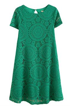 $6.99 AM CLOTHES Womens Loose Short Sleeve Hollow Out Lace Mini Base Dress Large Green AM CLOTHES