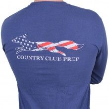 Faded Flag Longshanks Long Sleeve Tee Shirt in Navy Blue by Country Club Prep