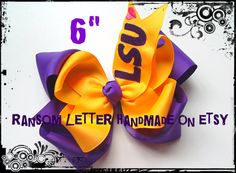 Monogrammed LSU Large 6 Purple and Gold Hair Bow by ransomletterhandmade on Etsy