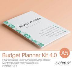 A5 BUDGET PLANNER Filofax Inserts Monthly von EasyLifePlanners