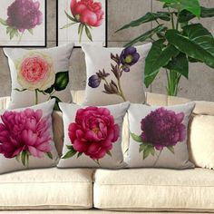 New Rose Flower Small Fresh Cotton Linen Cushion Home Sofa Car Decorative Pillow Decor Pillow-in Cushion from Home & Garden on Aliexpress.com | Alibaba Group