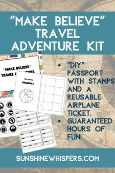 Make Believe Travel Adventure Kit (FREE Printable Pack). Let your kids go on an adventure and study geography and culture at the same time. Teaching Kids, Kids Learning, Passports For Kids, Passport Travel, Passport Stamps, Make Believe, Travel With Kids, Family Travel, Activities To Do