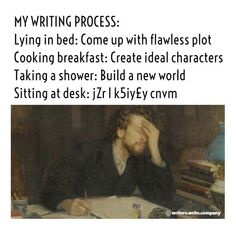 My Writing Process - Writers Write. Why is this so relatable? Book Writing Tips, Writing Quotes, Writing Help, Writing Prompts, Writing Worksheets, Writing Workshop, Writer Memes, Book Memes, Retro Humor