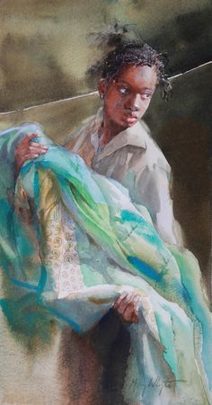 Little Turquoise, by Mary Whyte (American, b. African American Artist, American Artists, African Art, Watercolor Artists, Watercolor Portraits, Watercolor Paintings, Watercolors, Art And Illustration, Illustrations