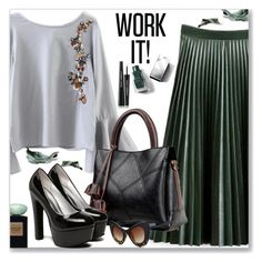 """""""Work Wear :: Floral Tied Blouse"""" by jecakns ❤ liked on Polyvore featuring Burberry, Dolce&Gabbana, WorkWear, skirt, Pumps, floralshirt and zaful"""