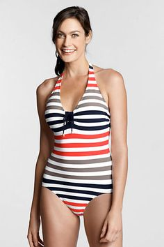 Women's Regatta Stripe Halter One Piece Swimsuit from Lands' End