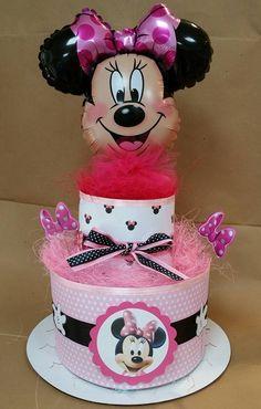 torta di pannolini tema minnie