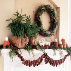 Natural Pinecone Garland