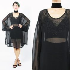 90s Sheer Black Dress Mesh Cover Up Floral Beaded by honeymoonmuse