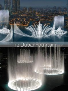 Lit up with 6000 lights and more than 20 colored projectors, The Dubai fountain is the world's largest animated/dancing fountain situated on the The Burj Khalifa Lake. It is designed by the same person who designed the fountains at the Bellagio hotel, Las Vegas. This beautiful fountain is 275 m (902 ft) long and shoots water up to massive 500 ft (152.4 m) high