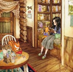 Drawing Girl Reading Book Illustrations Ideas For 2019 Art And Illustration, Book Illustrations, Girl Reading Book, Reading Books, Forest Girl, Anime Art Girl, Cute Art, Illustrators, Book Art