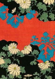 Kimono Pattern With Daisies woodblock print, Japan, artist unknown. Motifs Textiles, Textile Prints, Textile Patterns, Textile Design, Fabric Design, Print Patterns, Pattern Design, Kimono Design, Lino Prints